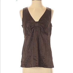 Ann Taylor Sleeveless Silk Satin Bow Top Brown 6